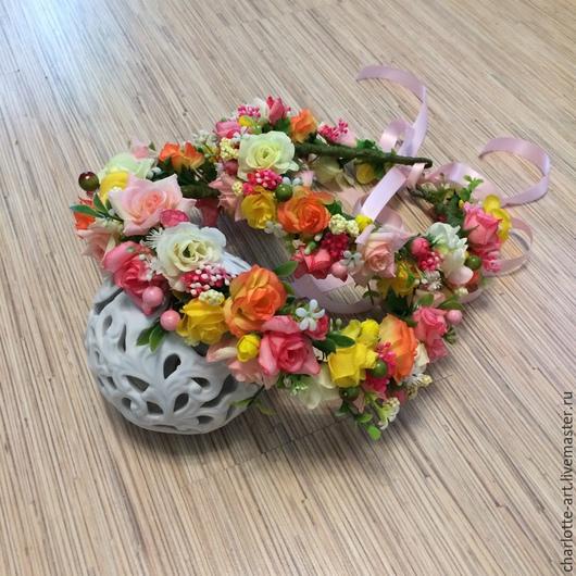 Диадемы, обручи ручной работы. Ярмарка Мастеров - ручная работа. Купить Веночек на голову с цветами МАМА+ДОЧКА(комплект). Handmade. Разноцветный