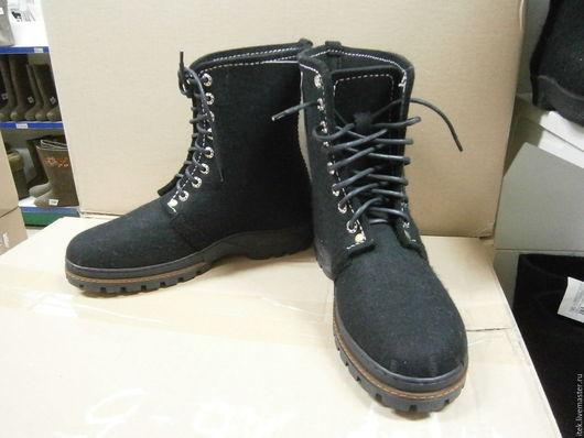 Обувь ручной работы. Ярмарка Мастеров - ручная работа. Купить Мужские валянные ботинки. Handmade. Черный, обувь на заказ
