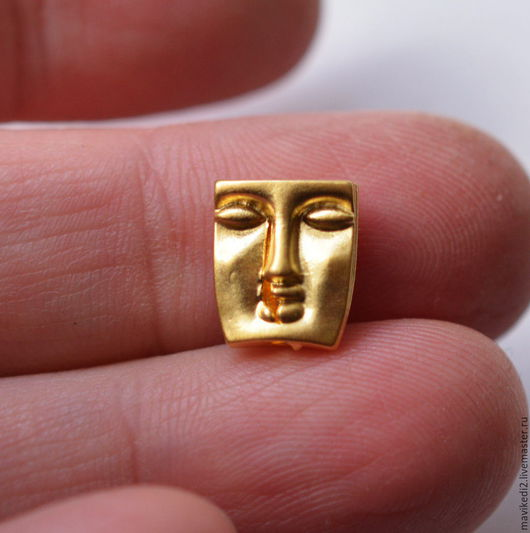 """Для украшений ручной работы. Ярмарка Мастеров - ручная работа. Купить бусина """"Личики""""/ латунь, золото 24 крт. Handmade."""
