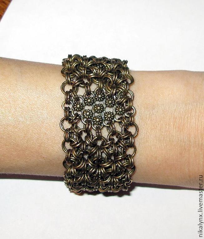 """Metal сhain bracelet """"flowers of Languedoc"""", Braided bracelet, St. Petersburg,  Фото №1"""