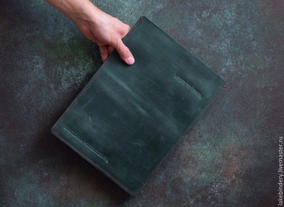 Кожаный чехол для ноутбука сшит ручным швом из натуральной кожи, Сумки, Москва, Фото №1