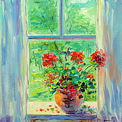 Картины и панно handmade. Livemaster - original item Oil painting on canvas. The window in the summer. Handmade.