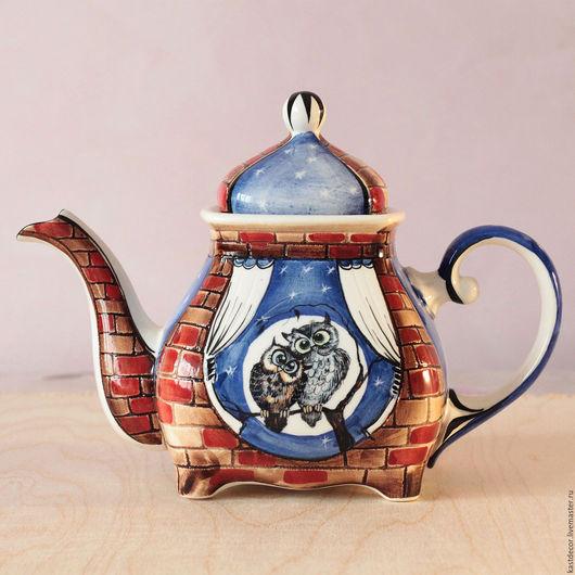 """Чайники, кофейники ручной работы. Ярмарка Мастеров - ручная работа. Купить Чайник заварочный фарфоровый """"Совушки"""". Handmade. Тёмно-синий"""