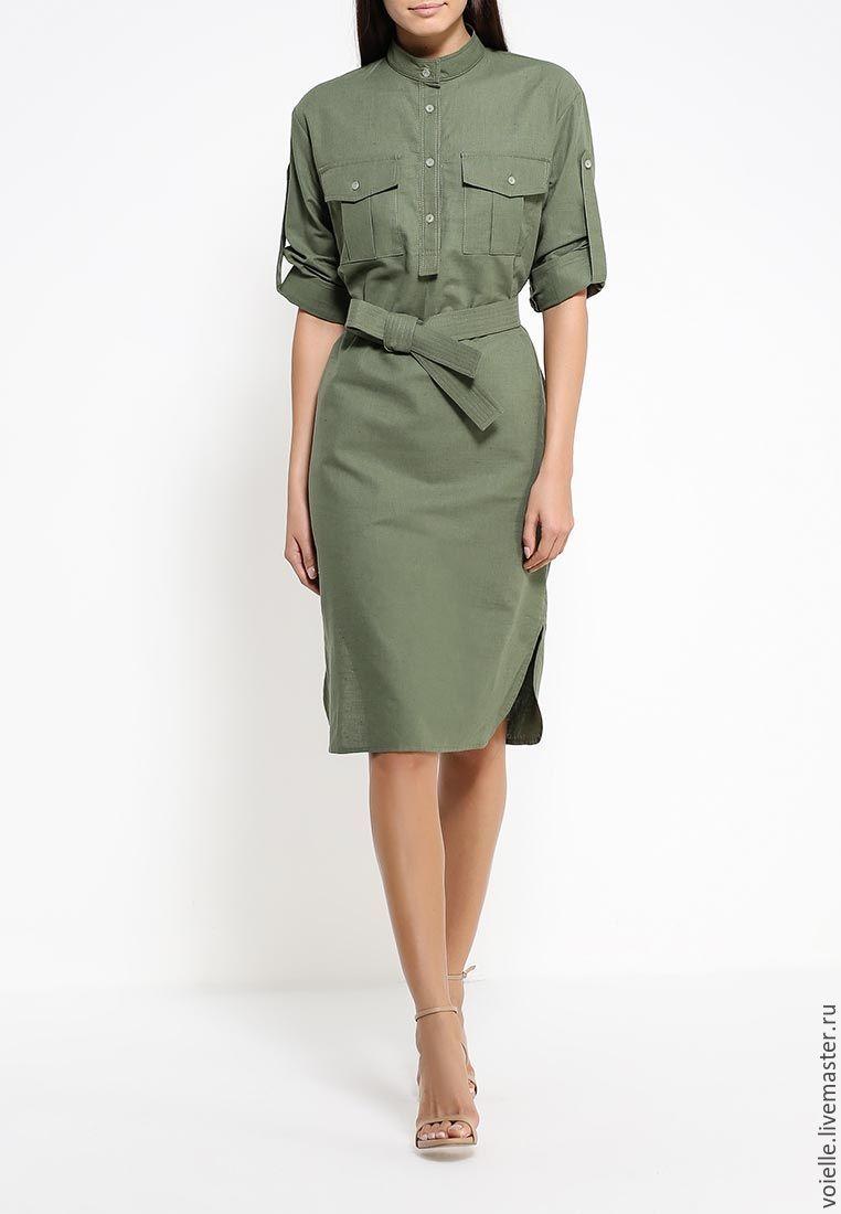 44fa6c5c35ae69b ... Зеленое льняное платье-рубашка в стиле милитари, летнее. Платье Милитари  из льна и хлопка · Платье Милитари из льна и хлопка ...