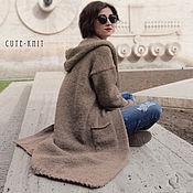 Одежда handmade. Livemaster - original item Long coat with knitted hood. Handmade.