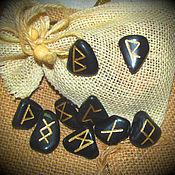 Фен-шуй и эзотерика handmade. Livemaster - original item The Scandinavian runes of Black Obsidian,set.. Handmade.