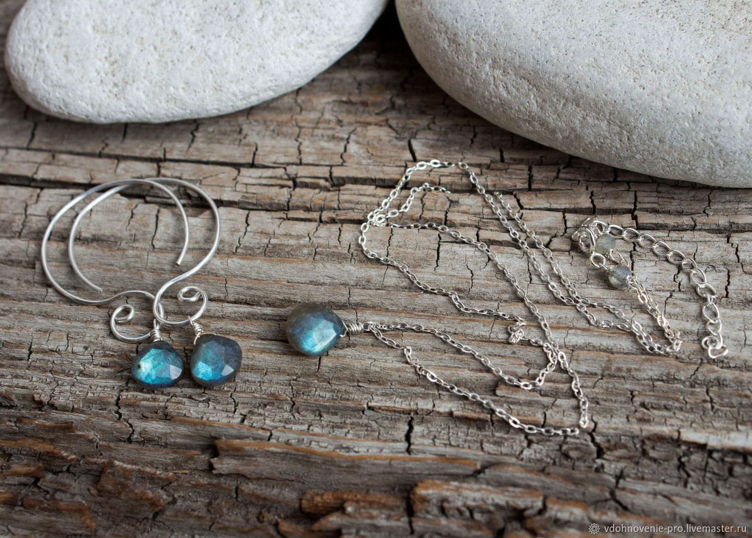 Set with Labrador 'Sunset' silver, necklace, earrings, Jewelry Sets, Yaroslavl,  Фото №1