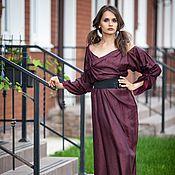 Одежда ручной работы. Ярмарка Мастеров - ручная работа V_017 Платье «Марсала» с «розой» на груди. Handmade.