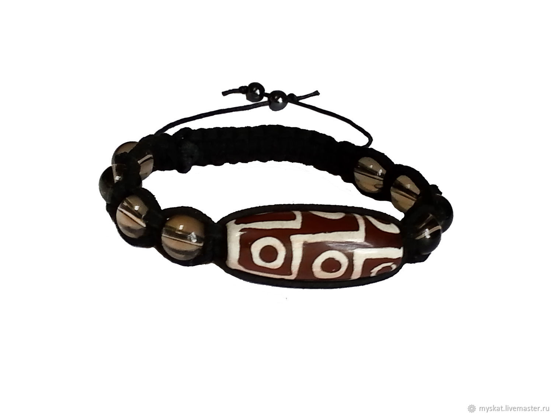 Shamballa bracelet with Dzi 9 eyes Rauchtopaz in the skin, Rosary bracelet, Moscow,  Фото №1