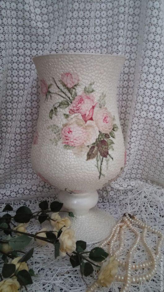 Вазы ручной работы. Ярмарка Мастеров - ручная работа. Купить Вазы ручной работы. Стеклянная ваза Розовая нежность. Handmade.