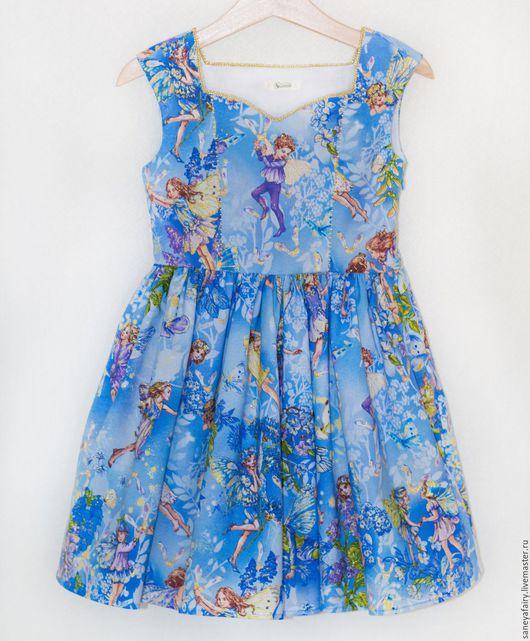 Одежда для девочек, ручной работы. Ярмарка Мастеров - ручная работа. Купить Платье с феями. Handmade. Синий, платье для девочки, феечка