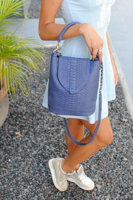 Ultramarine Python skin backpack bag, Classic Bag, Moscow,  Фото №1