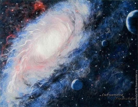 """Абстракция ручной работы. Ярмарка Мастеров - ручная работа. Купить Картина из шерсти """"Галактика"""". Handmade. Картины из шерсти, картины, синий"""
