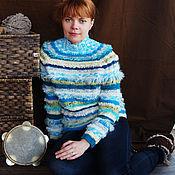 Одежда ручной работы. Ярмарка Мастеров - ручная работа Женский вязаный свитер Лазурь. Handmade.
