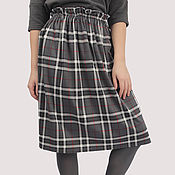 Одежда handmade. Livemaster - original item Grey checked skirt with elastic band classic knitted. Handmade.