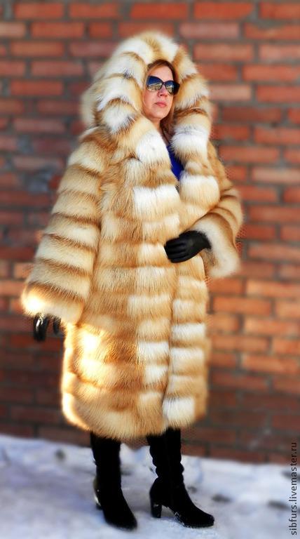 Верхняя одежда ручной работы. Ярмарка Мастеров - ручная работа. Купить Шуба из рыжей лисы.С капюшоном, без вставок.. Handmade.