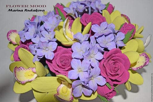 Интерьерные композиции ручной работы. Ярмарка Мастеров - ручная работа. Купить Цветочная композиция с орхидеями, розами и гортензией. Handmade. Орхидеи