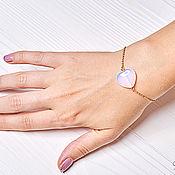 Украшения handmade. Livemaster - original item Thin chain bracelet with moonstone heart. Handmade.