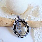 Украшения handmade. Livemaster - original item Transparent Locket Pendant Living Memory Pocket Lavender Flower Provence. Handmade.