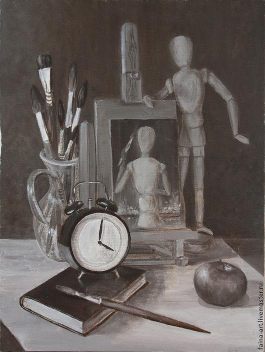 """Абстракция ручной работы. Ярмарка Мастеров - ручная работа. Купить картина """"Абстракция"""", картина маслом, коричневый, сепия, часы. Handmade."""