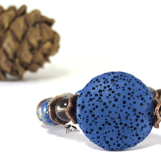 """Браслеты ручной работы. Ярмарка Мастеров - ручная работа. Купить """"Озеро в лесу"""" Синий браслет из натурального камня. Коричневый. Handmade."""