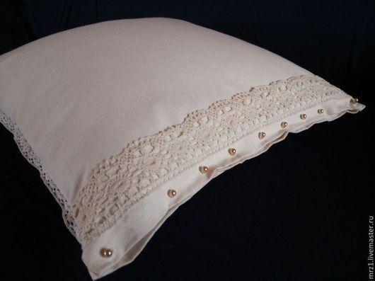 Текстиль, ковры ручной работы. Ярмарка Мастеров - ручная работа. Купить Подушка лоскутная с кружевом. Handmade. Кремовый, подушка декоративная