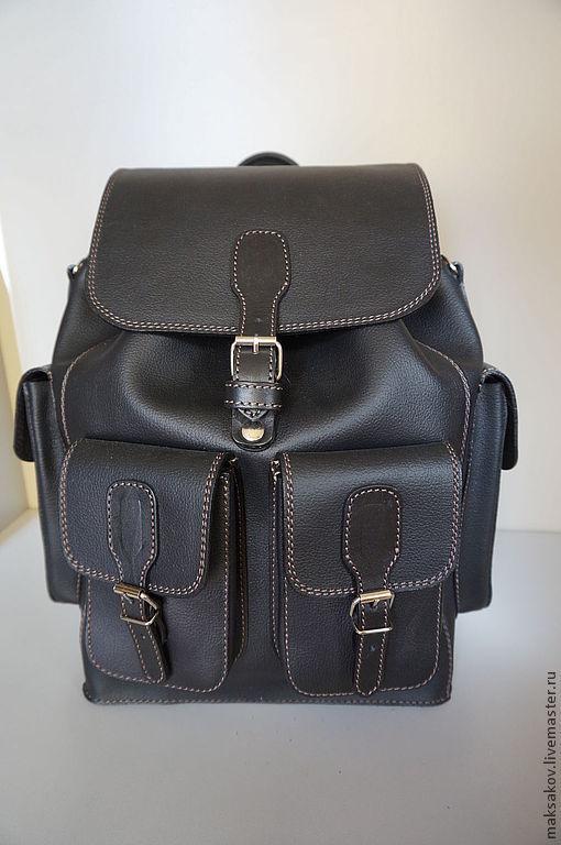 Рюкзаки ручной работы. Ярмарка Мастеров - ручная работа. Купить Мужской рюкзак из толстой кожи. Handmade. Черный, однотонный