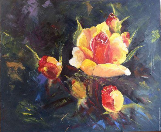 Картины цветов ручной работы. Ярмарка Мастеров - ручная работа. Купить Желтая роза. Масло на холсте. Размер 40 на 50 см.. Handmade.