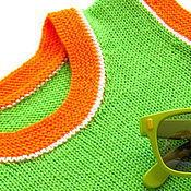 Работы для детей, ручной работы. Ярмарка Мастеров - ручная работа рост 98-110 см Детская шерстяная безрукавка салатовый оранжевый. Handmade.