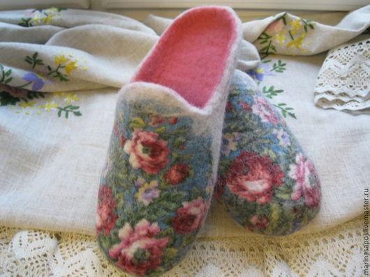 Обувь ручной работы. Ярмарка Мастеров - ручная работа. Купить Тапочки валяные Посиделки. Handmade. Тапочки ручной работы