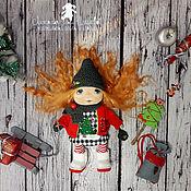 Куклы и игрушки handmade. Livemaster - original item Textile doll Little doll Christmas Knopochka Ginge. Handmade.