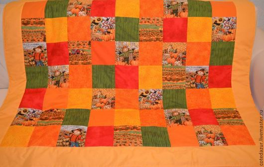 """Пледы и одеяла ручной работы. Ярмарка Мастеров - ручная работа. Купить Детское лоскутное одеяло """"Спелые тыквы"""" (жёлтое). Handmade."""