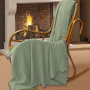 Текстиль ручной работы. Ярмарка Мастеров - ручная работа Плед-покрывало, лен,  Евро Зеленый. Handmade.
