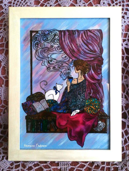 Картина на стекле в технике витражной росписи `Сиреневое утро` (по эскизу Xenia Rassolova)