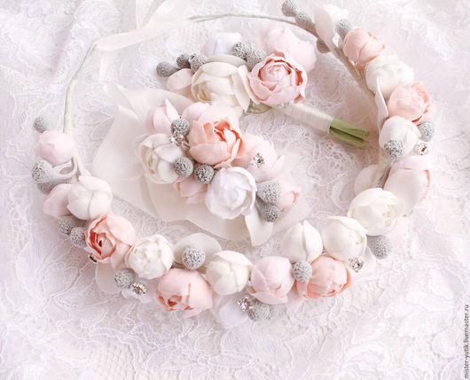 Свадебные украшения ручной работы. Ярмарка Мастеров - ручная работа. Купить Венок на голову Piony flowers. Handmade. Белый