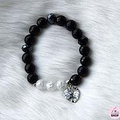 Украшения handmade. Livemaster - original item Bracelet made of black agate and snow quartz