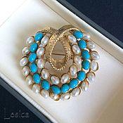 Винтаж handmade. Livemaster - original item Brooch pearls and turquoise from ART USA. Handmade.
