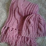 Аксессуары handmade. Livemaster - original item Knitted hat and scarf with braids