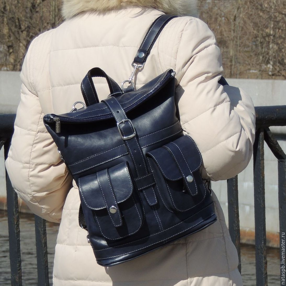 Backpack leather womens blue