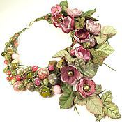 Украшения handmade. Livemaster - original item Dawn Cherry. Necklace and removable flower decor. Handmade.
