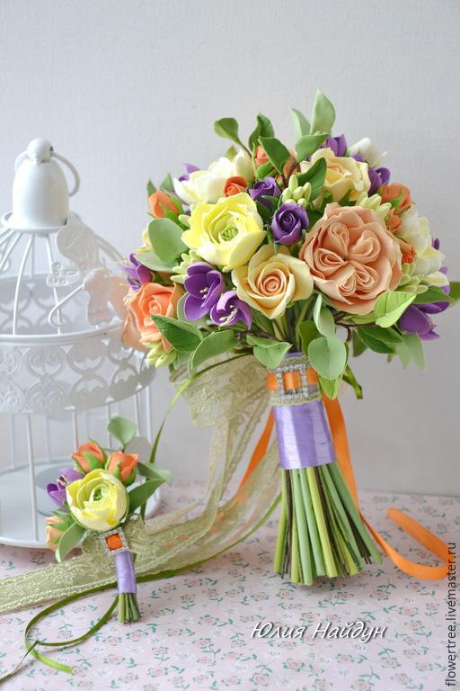 Букеты ручной работы. Ярмарка Мастеров - ручная работа. Купить Букет невесты из полимерной глины. Handmade. Белый, decoclay, зеленый