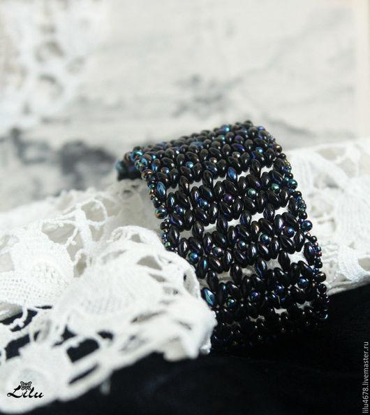 """Браслеты ручной работы. Ярмарка Мастеров - ручная работа. Купить Плетеный ажурный черный браслет из бисера """"Ночь"""". Handmade."""