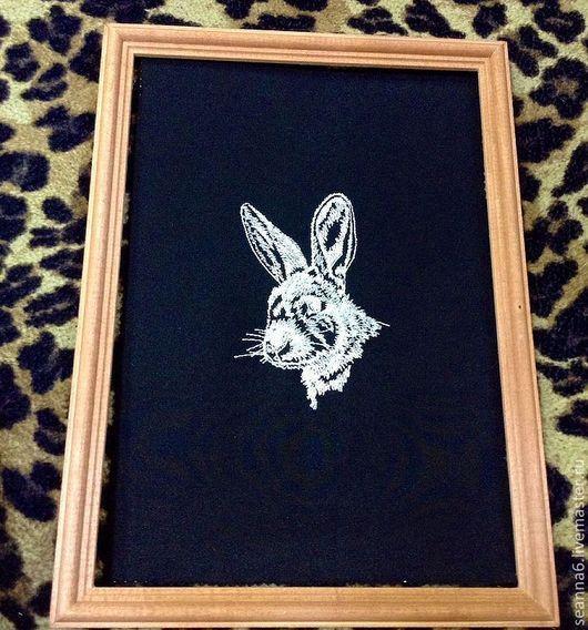 """Животные ручной работы. Ярмарка Мастеров - ручная работа. Купить Картина вышитая, картинка, панно """"Зайчик"""". Handmade. Картина вышитая"""