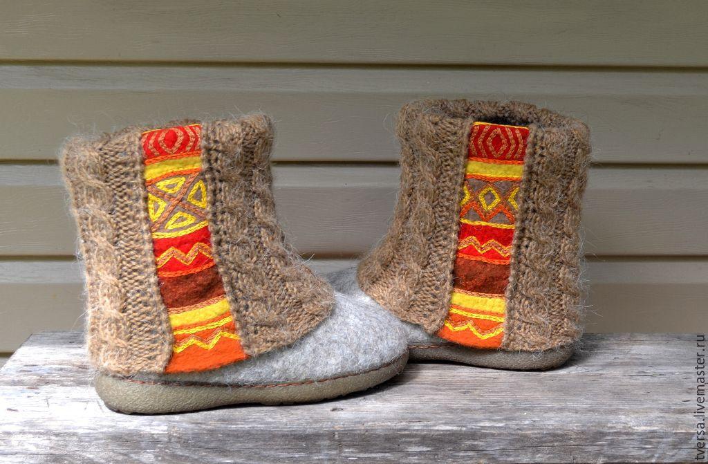 Обувь ручной работы. Ярмарка Мастеров - ручная работа. Купить Валенки женские на подошве Инка. Handmade. Бежевый, дизайнерские валенки