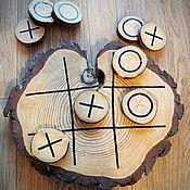 Квесты, настолки, домино ручной работы. Ярмарка Мастеров - ручная работа Деревянная настольная игра крестики-нолики. Handmade.