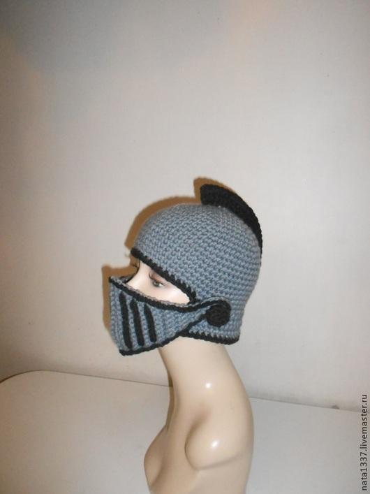 Шапки ручной работы. Ярмарка Мастеров - ручная работа. Купить Шапка-шлем Рыцарь вязаная. Handmade. Темно-серый