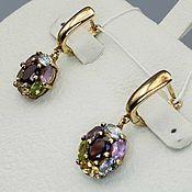 Украшения handmade. Livemaster - original item Silver earrings with garnet, topaz, amethyst, citrine and peridot. Handmade.