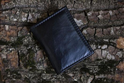 Мужские сумки ручной работы. Ярмарка Мастеров - ручная работа. Купить Черный кожаный миникошелек. Handmade. Черный, кошелек