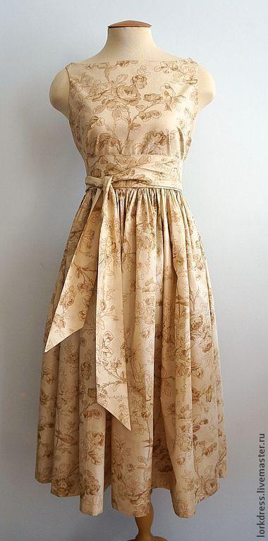 """Платья ручной работы. Ярмарка Мастеров - ручная работа. Купить Платье """"Cream sparrow"""" из хлопка. Handmade. Бежевый, Кремовое платье"""