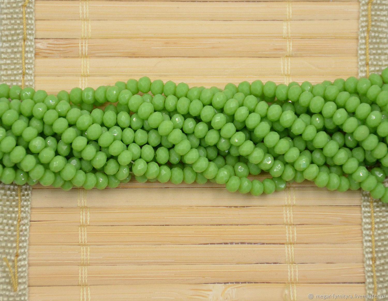 10 шт. Рондели 4х3 мм Матовый зелёный, Бусины, Колпино,  Фото №1